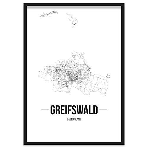 JUNIWORDS Stadtposter, Greifswald, Wähle eine Größe, 40 x 60 cm, Poster mit Rahmen, Schrift B, Weiß