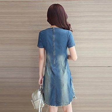 PU&PU Robe Aux femmes Denim simple / Chic de Rue,Couleur Pleine Col Arrondi Au dessus du genou Autres BLUE-2XL