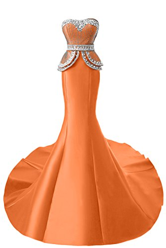 TOSKANA BRAUT Exquisite Traegerlos Neu Stein Paillette Abendmode Lang Meerjungfrau Abendkleider Partykleider Promkleid Orange