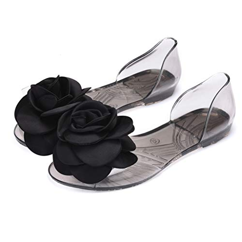 ☺HWTOP Damen Sandalen Sommer Offene Zehen Flach Gelee Beleg auf Schuhen Großen Blumenfisch Mund Peep Toe Strand Schuhe -