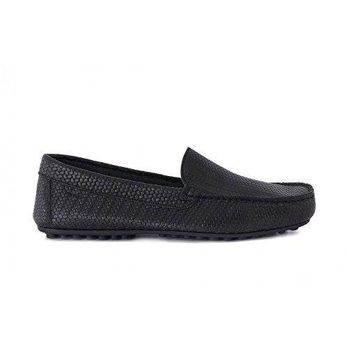 Frau 31Q0 Schwarze Schuhe Mannmüßiggänger Ledergeflecht Presse Blu