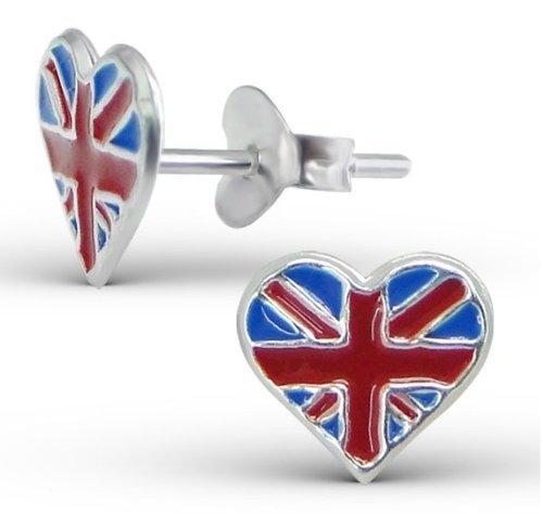 Katy Craig - Piccoli orecchini a perno a forma di cuore con bandiera inglese, 0,9 x 0,8 cm, in argento Sterling, confezione da 2, forniti con confezione regalo
