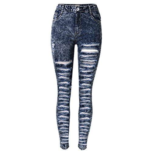 Laixing Sexy Women Jeans Skinny Ripped Hole Long Denim Pants Pencil Leggings TOP-008D