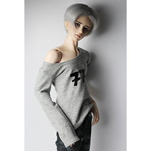 Unbekannt 1/3 Männliches BJD, Das Beiläufiges Langes Hülsen Blument Shirt Für 70cm LUTS Dollfie Zusätze Kleidet - Grau (Kostüm Männliche Puppe)