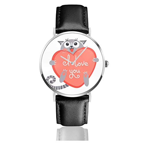 Business Analog Watches,Cute Cartoon Ginger Cat with Heart and Declaration of Love.Classic Stainless Steel Quartz Waterproof Wrist Watch with Leather Strap