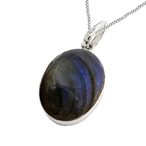 925 Sterling Silver Labradorite Oval Cabochon Pendant with a Sterling Silver Chain - Magical Delight