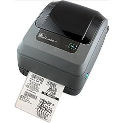 Zebra GX430t - Impresora de etiquetas (Térmica directa / transferencia térmica, 300 x 300 DPI, 102 mm/seg, Alámbrico, 8 MB, 4 MB) Negro, Gris