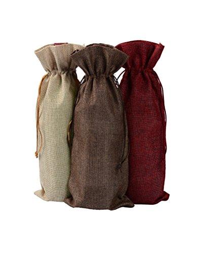 taubbeutel Sackleinen natur Flasche Geschenk Tasche DIKETE Geschenkverpackungen mit verstellbarem Seil (Sackleinen-tasche)