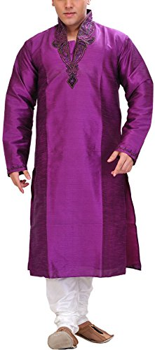 Exotic India Exotic Men's India Art Silk Kurta Pyjama (SPD20-40 Purple_40)