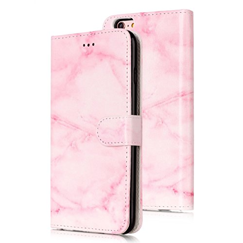 iPhone 6S Custoida in Pelle Portafoglio,iPhone 6 Cover Pu Wallet,KunyFond Lusso Moda Marmo Dipinto Leather Flip Protective Cover con Bella Modello Cover Custodia per iPhone 6/6S 4.7 Ultra Slim Folio B Marmo rosa