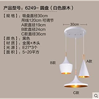 Lx.AZ.Kx E27 Modern Chandelier Industrial Vintage Pendant Light for Home Office Bedroom Modern Scandinavian Minimalist Restaurant Light Single Pendant Lights Musical Instruments, White Disc 3 Head With Wood.