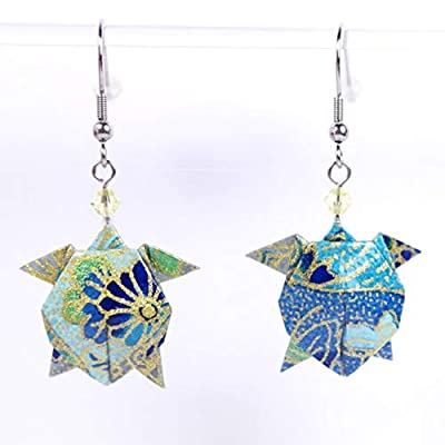 Boucles d'oreilles tortues de mer origami bleues et dorées - crochets inox