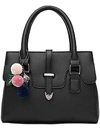 Women Summer Fashion Top Handle Pu Leather Handag Elegant Gross Body Shoulder Bag Black By H&N