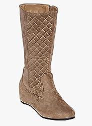 Flat n heels Womens Tan Flat Boots