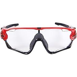Queshark Deportes Gafas de sol de ciclismo para bicicleta polarizada fotocromática Full Revoed 3 Lente (Rojo-Negro)