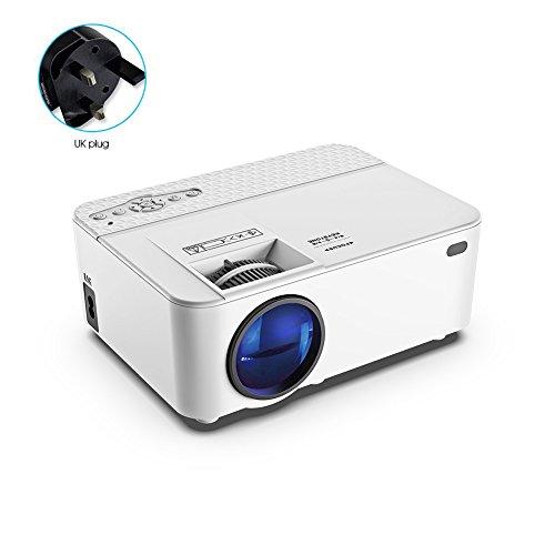 1800 Lumen LCD Mini Tragbarer Heimbeamer Lichtausbeute TV Beamer unterstützt 1080P Full HD für Video TV Filme Partys Spieleabende Heimkino USB/SD/AV/HDMI/VGA Eingang