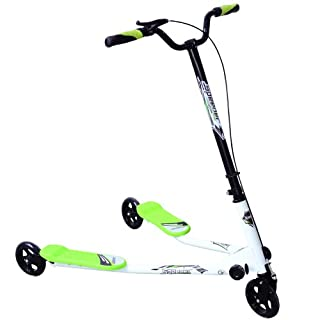 HOMCOM Kids 3 Wheels Foldable Speeder Push Scooter Tri Slider Green Large Type for Age 8+