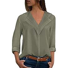 Camisas Mujer Blusa Camisetas Manga Larga Sexy Tops Color Sólido Cuello en  V Low Cut Sexy a2a96e70d806