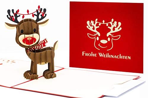 Pop Up Weihnachtskarte Christmaskarte X-Mas Karte 3D Rentier schönes Geschenk zu Weihnachten EXTRA Geld-Umschlag oder Geschenk-Gutschein