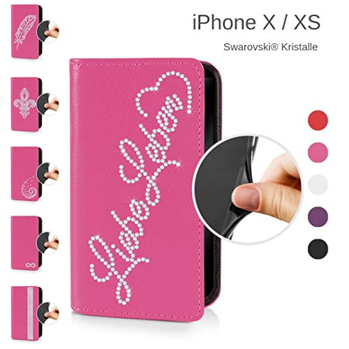 eSPee Handyhülle kompatibel mit Apple iPhone - X/XS - unzerbrechliche Schutzhülle aus Silikon mit Swarovski Kristallen Liebe Leben Magnetverschluss und Fach in Pink - Swarovski Crystal Iphone Case