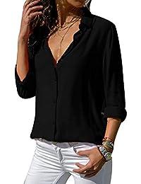 laamei Chemisier Femme Manches Longues Tunique Col V Mousseline Top Blouse  Mode Couleur Unie 537809975a27