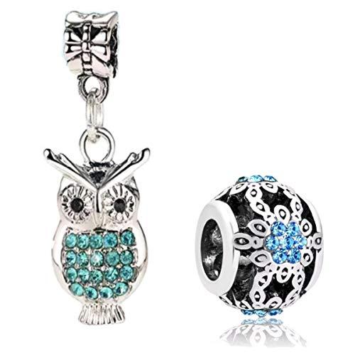 Marni's 2 ciondoli a forma di gufo e quadrante con cristalli blu, per braccialetti e collane stile europeo Regalo di compleanno e Natale per donne e ragazze.