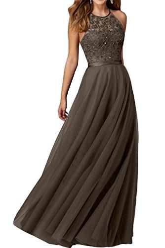 Promgirl House Damen Reizvoll Schwarz Stickerei Traeger A-Linie Abendkleider Cocktail Ballkleider Lang-44 Schokolade