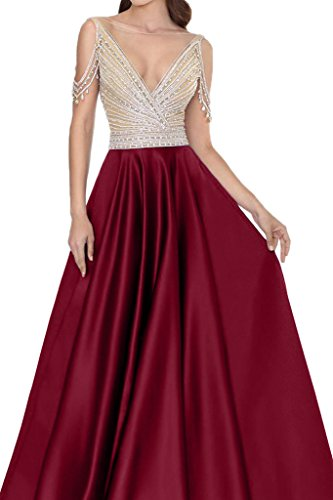 ivyd ressing Donna Scollo A V Pietre Rueckenfrei Satin party festa Prom abito abito sera vestito rosso vivo