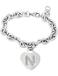 1dc4a8c5fdb6 Beloved ❤ Pulsera de mujer de acero con cristales con letra - pulsera con  encanto de corazón inicial y cristales…