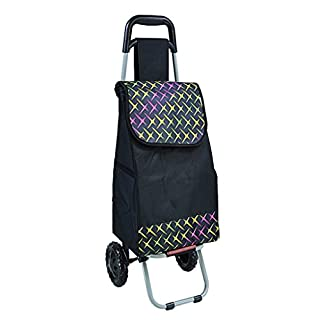 Zfggd Large Capacity Lightweight Shopping Cart Folding Wheel Rolling Push Trolly (Color : B)