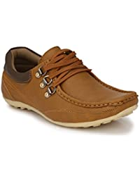 Real Blue Men's Leather lace up tan Color Shoe(Synthetic Leather Casual Shoe)