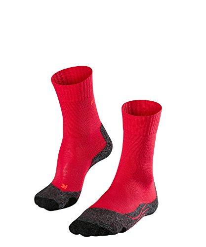 FALKE TK2 Damen Trekkingsocken / Wandersocken - rot, Gr. 37-38, 1 Paar, extra starke Polsterung, Merinowolle, feuchtigkeitsregulierend - Planet Dessous