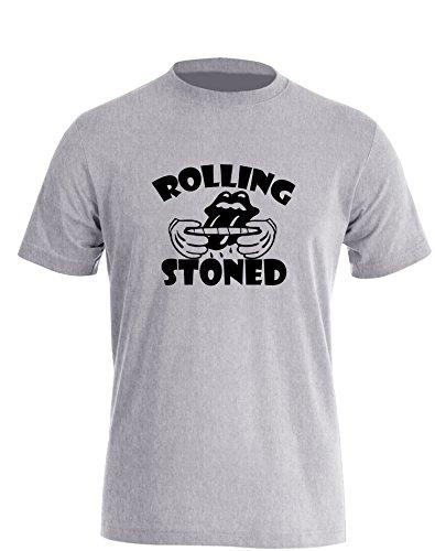 Rolling Stoned - Herren T-Shirt Grau - Schwarz in Größe L