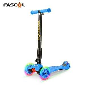 Fascol Monopattino pieghevole per bambini, con luci a LED, 3-17 nel ruote per bambini da 3 a 9 anni bambini (colore: Blu)