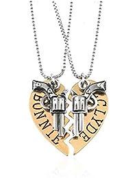 Adisaer Herren Damen Paar Kette Metalllegierung Halskette Silber Gold Herz  Gravur