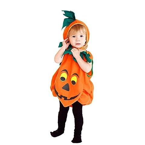 Per Weich&Niedlich Baby Kinder Unisex Kürbis Kostüm für Halloween (Hut Inbegriffen) - S 2-3 (Halloween-kostüme Für Zwei Kinder)