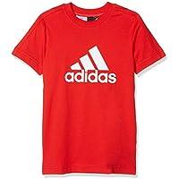 Adidas YB Logo tee Camiseta, Niños, Rojo (Vivid Red) / Blanco, 128 (7/8 Años)