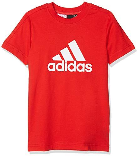 Adidas yb logo tee maglietta, bambino, bambino, dj1776_164 (13/14 años), rosso (vivid red) / bianco, 164 (13/14 años)