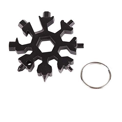 Schneeflocke 18-in-1-Multi-Tool mit Schlüsselanhänger Ring, EDC Mehrzweck-Compact Pocket Tool - Fahrrad-Reparatur, Schraubendreher, Opener, Adjust Bindungen -