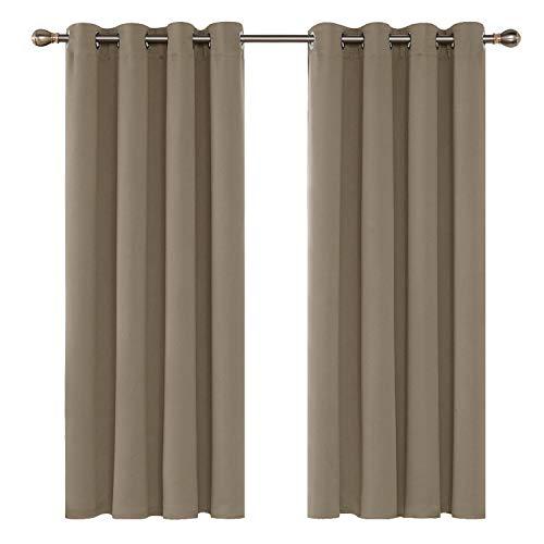 Deconovo tende oscuranti termiche isolanti con occhielli per tua casa 100% poliestere cachi 140x180 cm due pannelli