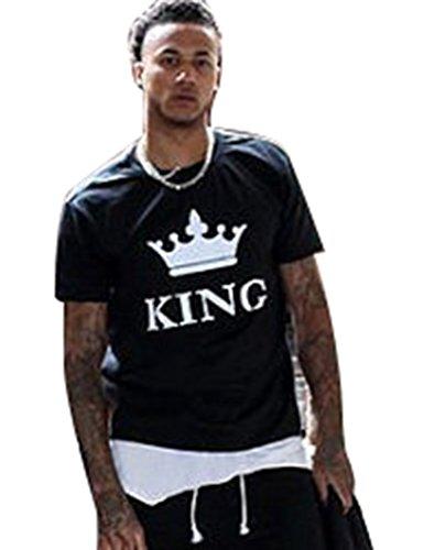ZKOO Mujeres King And Queen Parejas Manga Corta Impresa Camiseta San Valentín Moda T-shirt