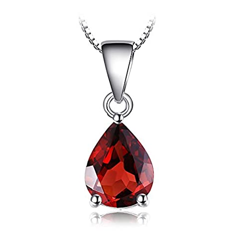JewelryPalace Women Girls 2.2ct Pear Natural birthstone Red Garnet Sterling Silver Necklace Pendant