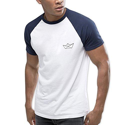 VIENTO Paper Ship Herren T-Shirt Baseball (Blau, L)