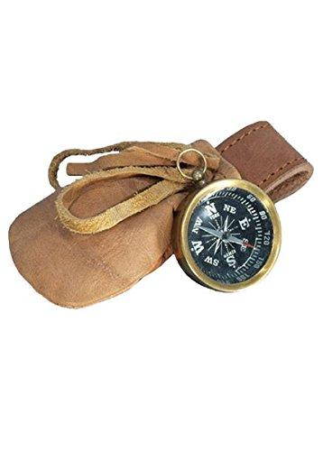 Kompass aus Messing mit Ledertasche Kompass mit Etui LARP Mittelalter Wikinger