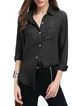 Blusa de Oficina Mujer Camisas Top T-Shirt Tee Manga Larga Verano Elegante y Estilo