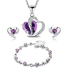 Findout - Juego de colgante para collar, pendientes y pulsera de plata con amatistas rosa azul y blanco y corazón de cristal para damas y niñas. (F497).