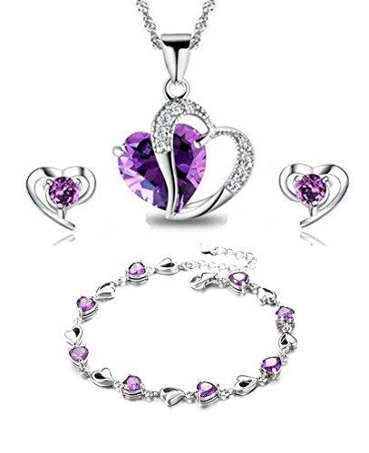 findout Amethyst rot, rosa, blau weiß Kristall-Herz Silber Anhänger Halskette + Ohrring + Armband für Frauen Mädchen. (F497) ( Herz Amethyst Set)