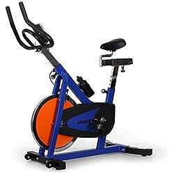 Klarfit Fitness Iron Speed Bike idoor Cycle confortable professionnel Vélo d'entraînement avec ordinateur d'entrainement & OXYMETRE DE POULS (Résistance réglable en continu, profondeur de selle/Hauteur de la selle réglable, affichage: Calories, certifié TÜV/GS) Bleu/Orange