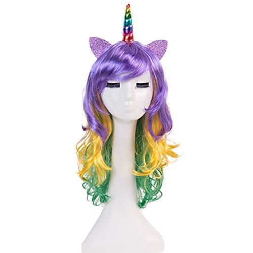 mama stadt Einhorn Perücke mit Horn Für Erwachsene und Kinder, Perücken für Karneval Halloween Fasching Kostüme Party Fest (Party Stadt Kostüm Für Erwachsene)