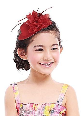 La Vogue Chapeau Bibi Mode Voilette Plume Fleur Cérémonie Mariage Soirée Femme Rouge #1